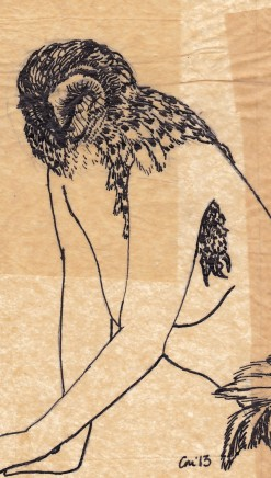 "Claire Marsh, ""feathered #1"", 2013, Indian ink on sewing paper, 19x13cm"
