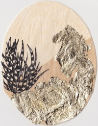 "Claire Marsh, 2016, ""Spine I"", gold leaf and indian ink on sewing paper, 12.5x10.5 cm"