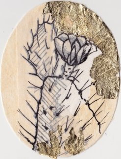 "Claire Marsh, 2016, ""Spine II"", gold leaf and indian ink on sewing paper, 12.5x10.5 cm"