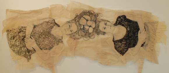 Claire Marsh, 2012, Mirror, indian ink and squid ink on sewing paper, 100x250cm