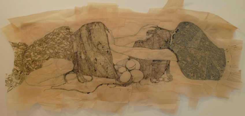 Claire Marsh, Struggle, 2012, indian ink and squid ink on sewing paper, 85x160cm