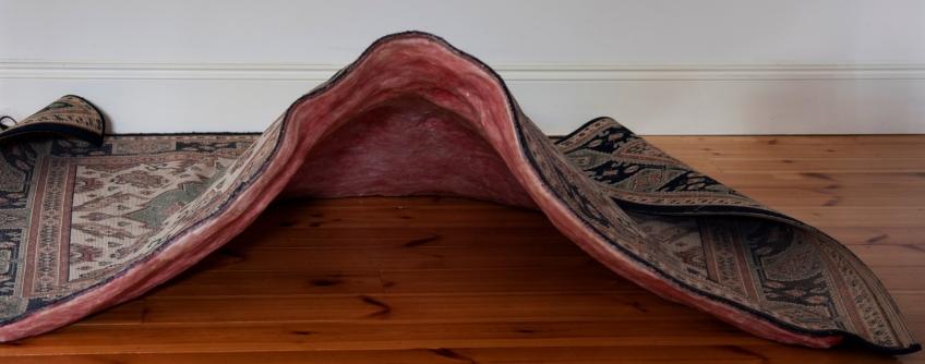 Claire Marsh, Swept Under, 2012, Carpet, beeswax, wood, foam, paint, 54 x 160 x 180cm
