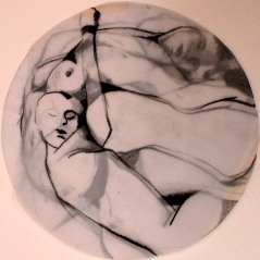"Claire Marsh, 2010, ""circle composition"", conte on tracing paper"