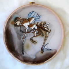 "Claire Marsh, 2010, ""skeleton"", silk, thread, ochre, ink, embroidery hoop"
