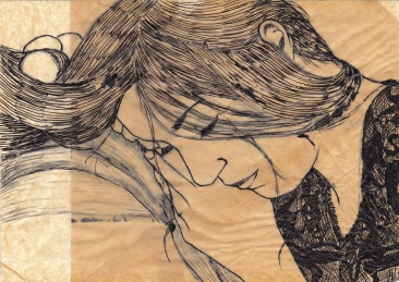 "Claire Marsh, 2012, ""Charlotte"", indian ink on sewing paper"