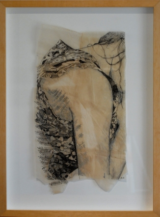 "Claire Marsh, 2012, ""Flora"", indian ink on sewing paper"