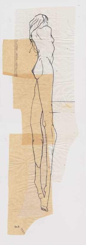 Claire Marsh, 2013, hunter sketch 2, indian ink on sewing paper
